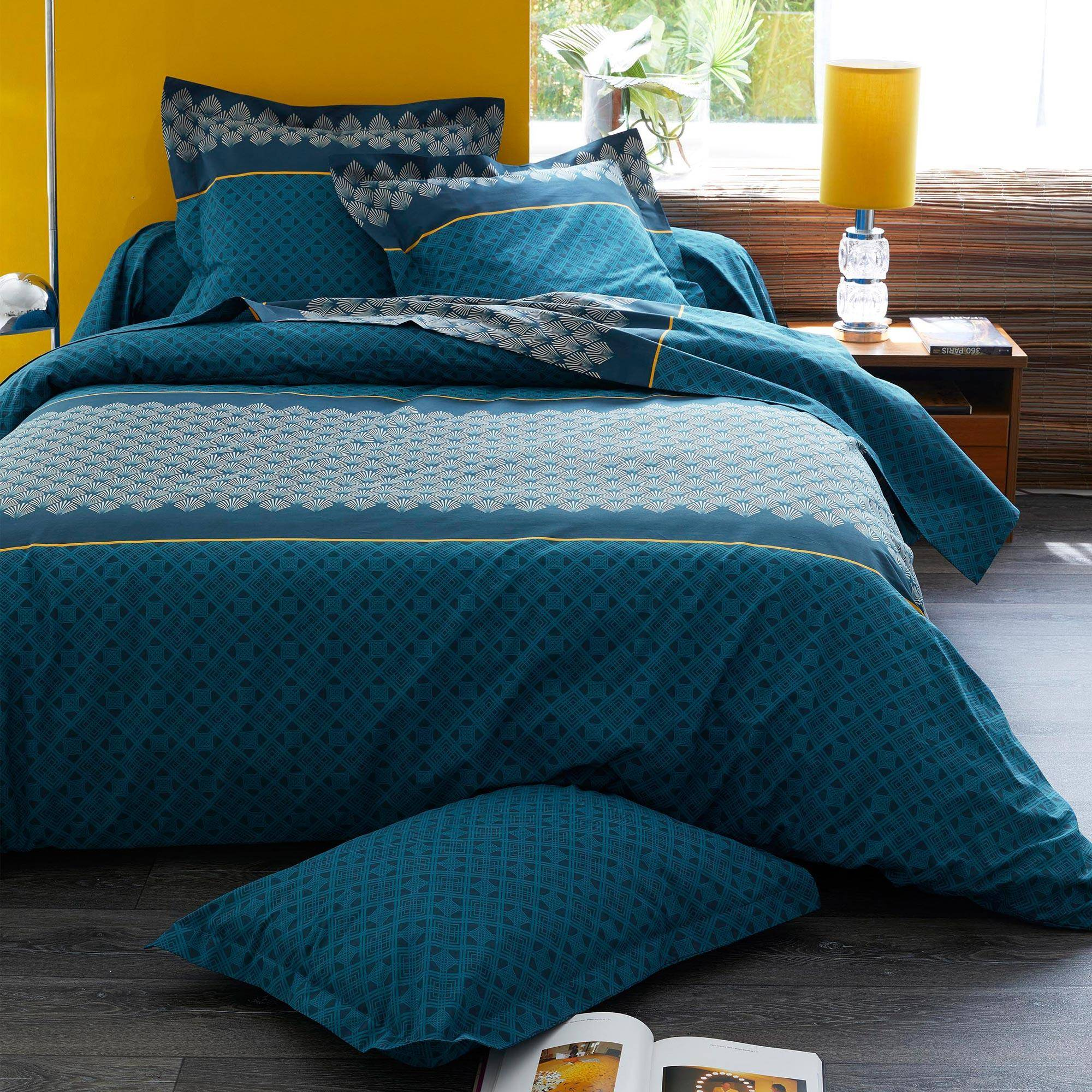 Linnea Housse de couette 140x200 cm 100% coton TALISMAN bleu Paon