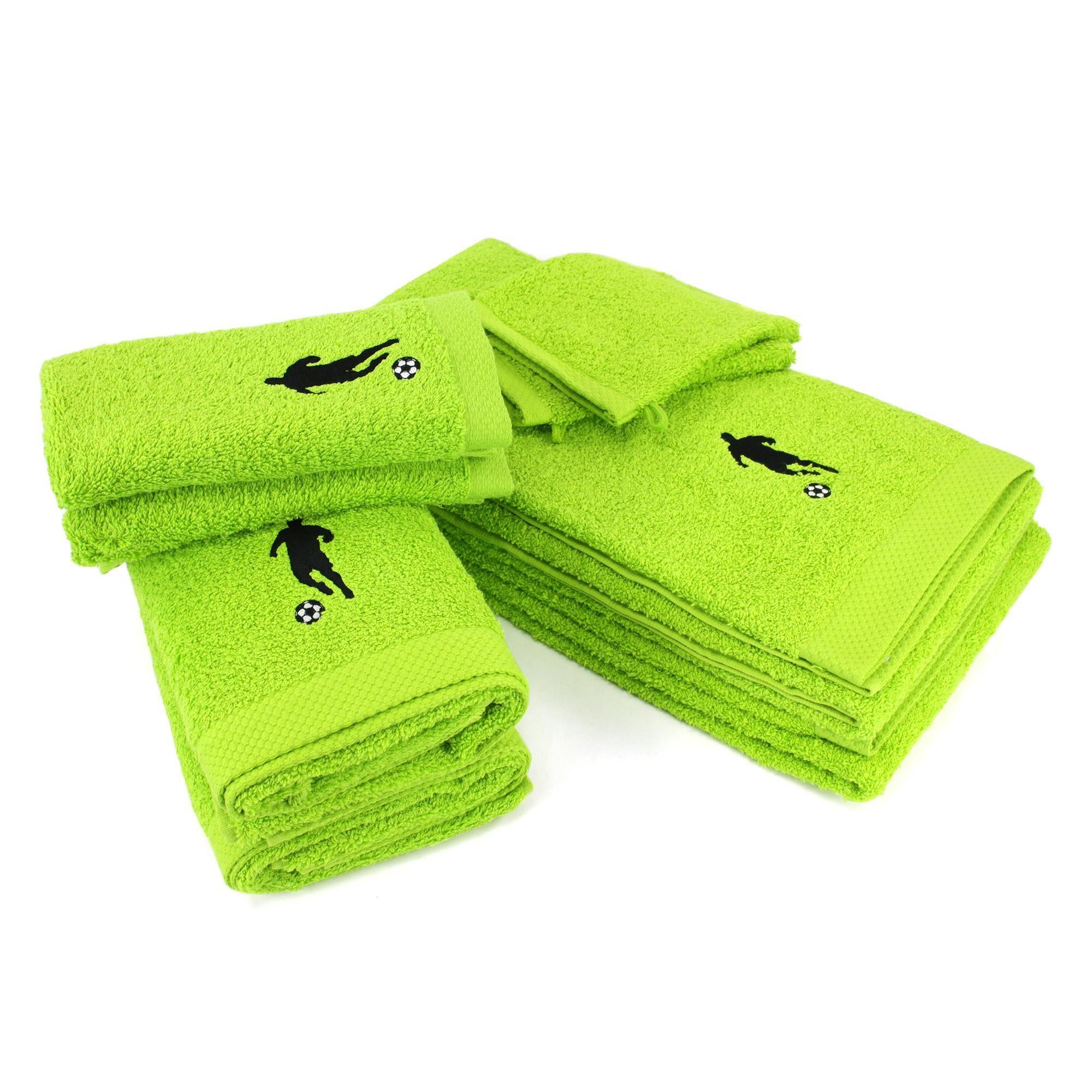 Linnea Parure de bain 8 pièces 100% coton 550 g/m2 PURE FOOTBALL Vert Pistache