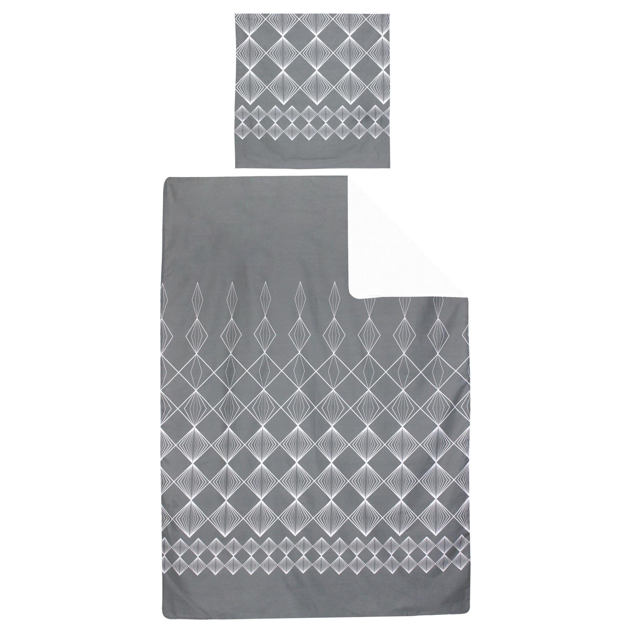 Linnea Parure de lit 140x200 cm 100% coton FOREVER GRIS gris foncé 2 pièces