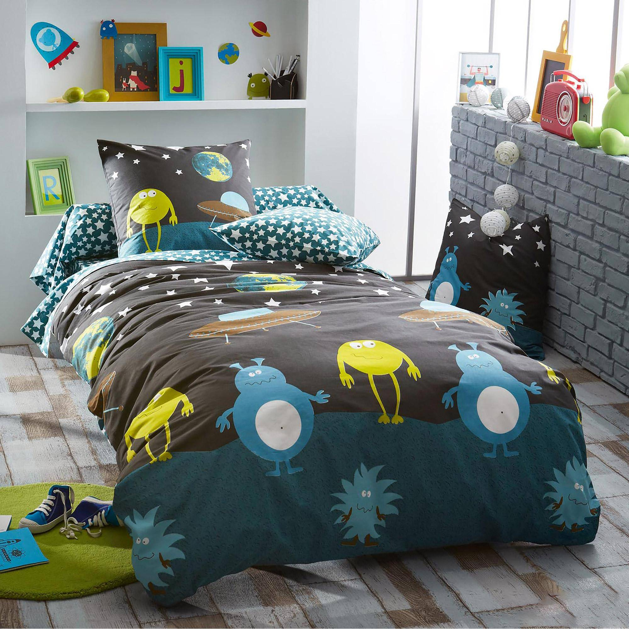 Linnea Parure de lit 200x200 cm 100% coton MONSTERS