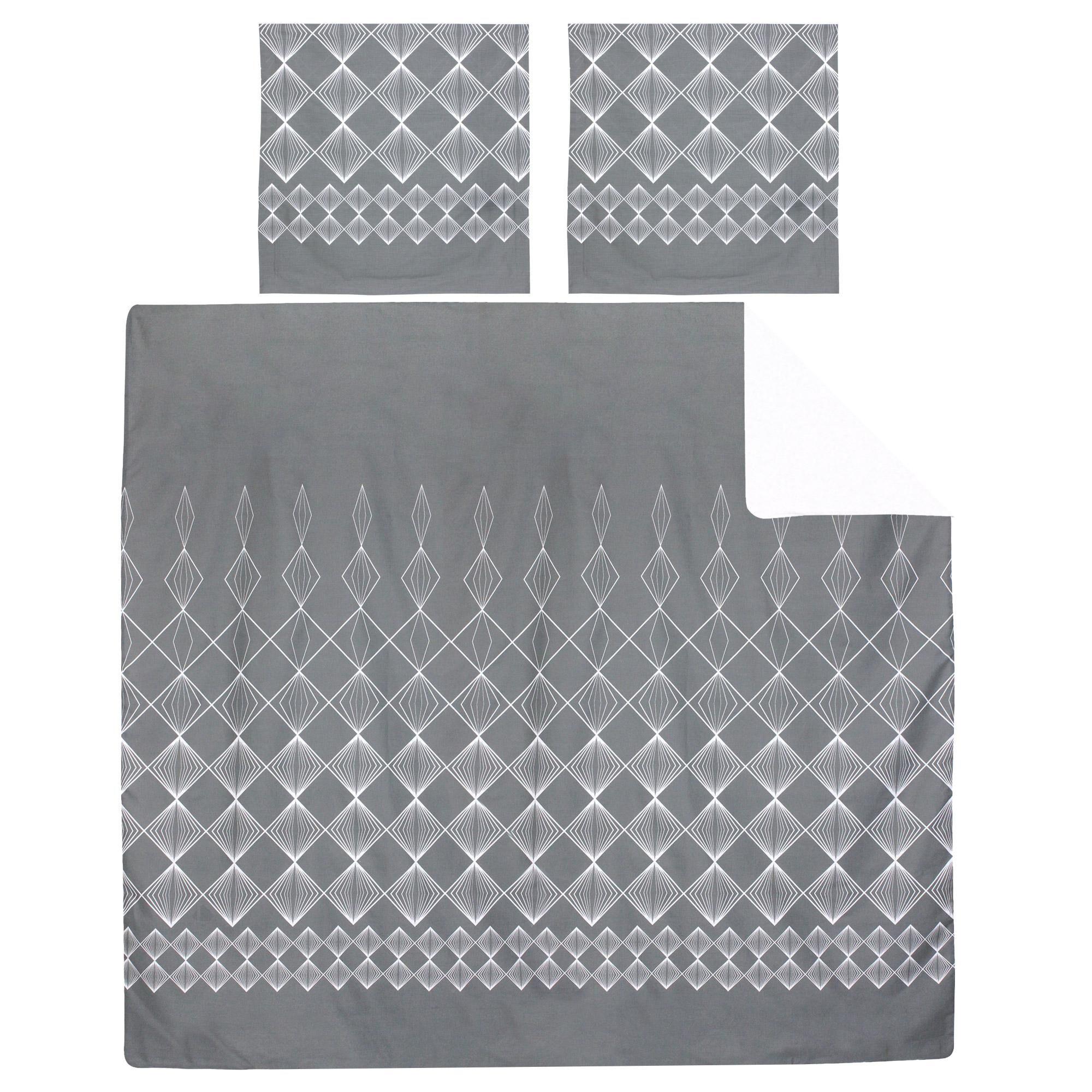 Linnea Parure de lit 240x220 cm 100% coton FOREVER GRIS gris foncé 3 pièces