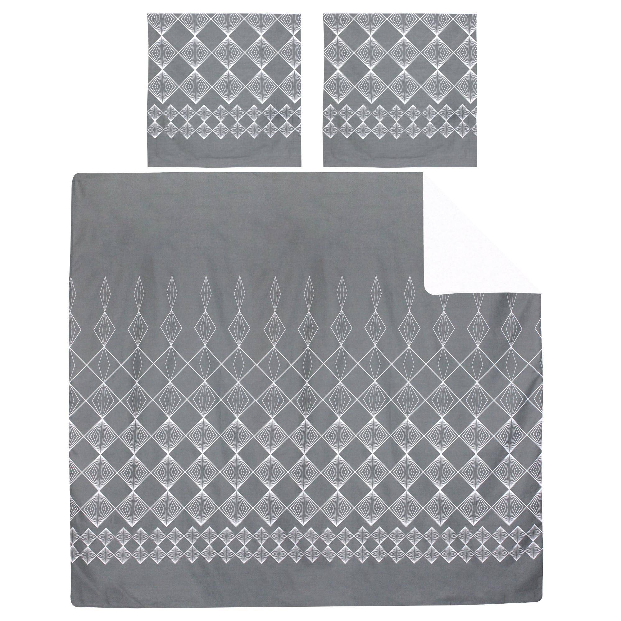 Linnea Parure de lit 280x240 cm 100% coton FOREVER GRIS gris foncé 3 pièces