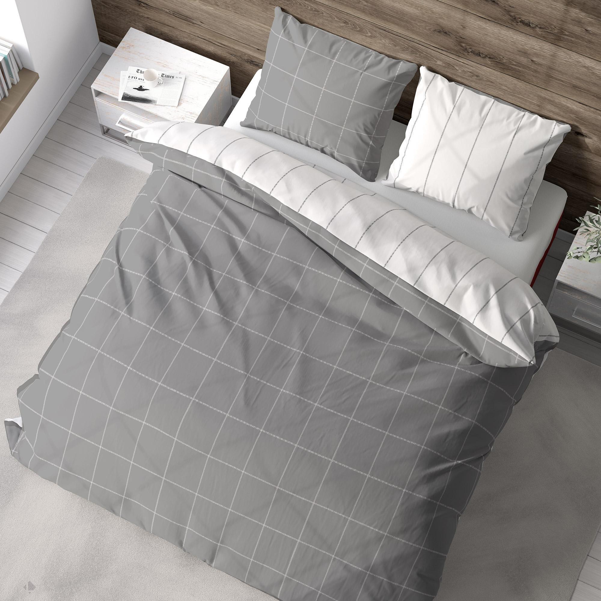 Linnea Parure de lit flanelle 260x240 cm coton bio LIAM Gris