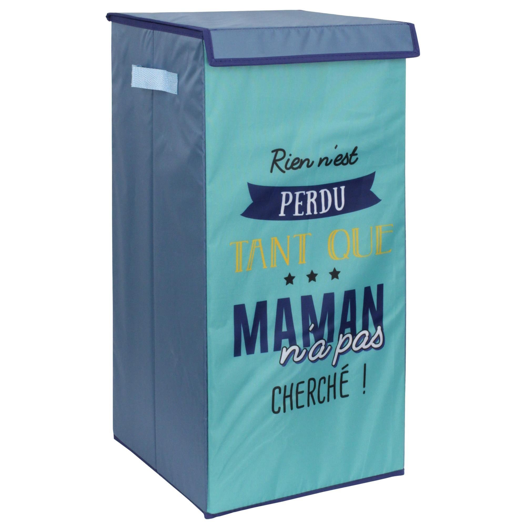 Linnea Panier à linge cartonnée avec couvercle 54L bleu Rien n'est perdu tant que maman n'a pas cherché