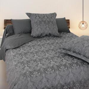 Linnea Drap plat 270x310 cm uni satin de coton VOSGES Gris foncé - Publicité