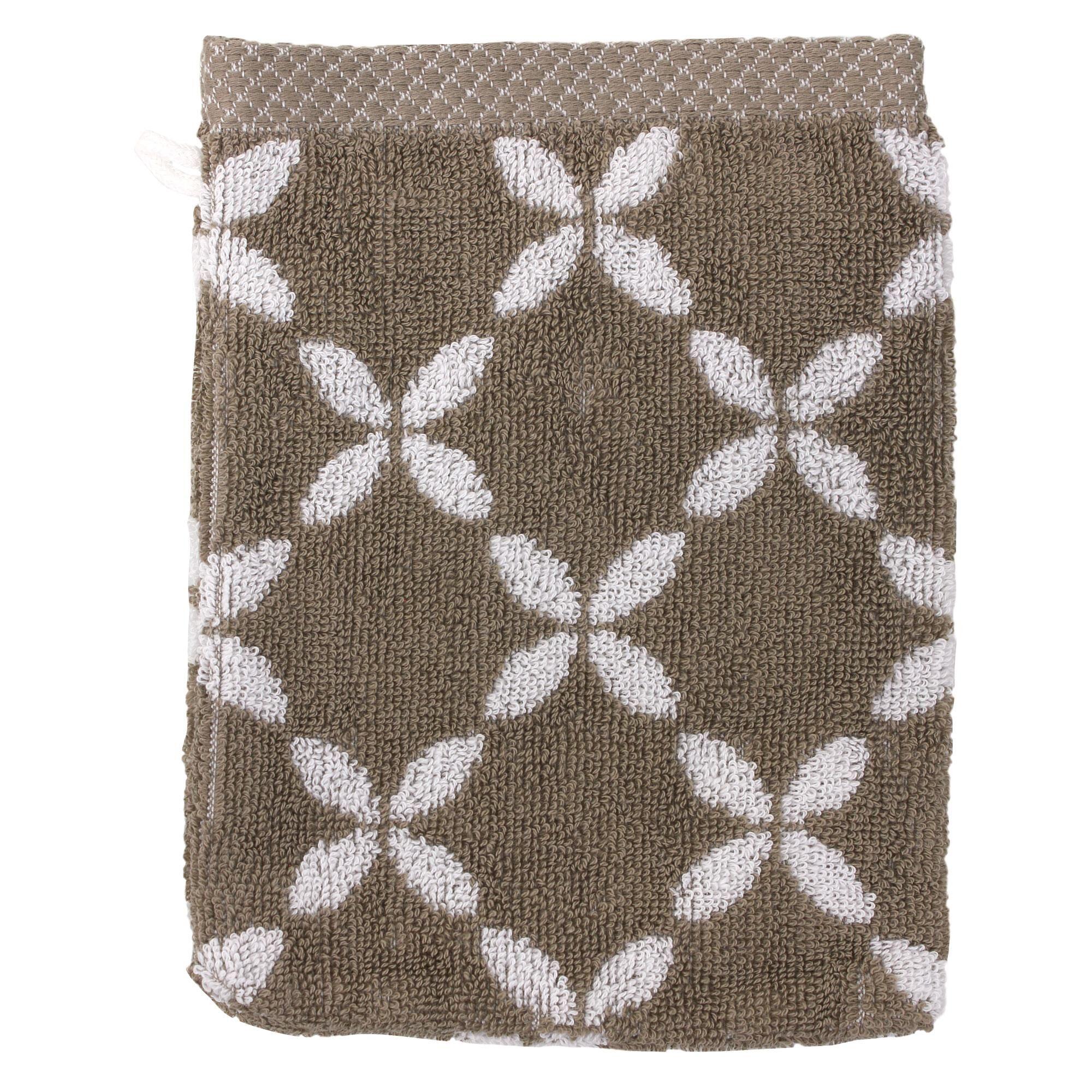 Linnea Gant de toilette 16x21 cm SHIBORI floral Beige 500 g/m2