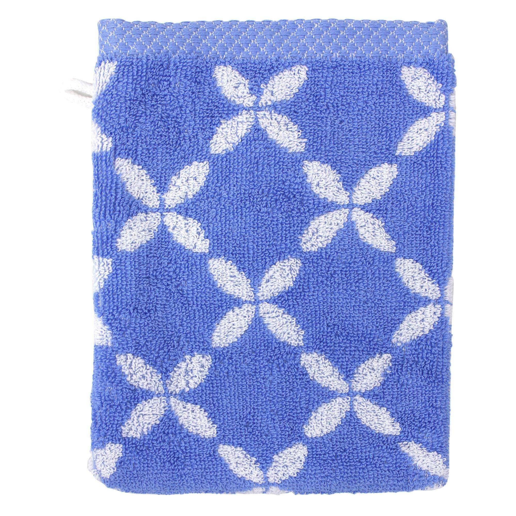 Linnea Gant de toilette 16x21 cm SHIBORI floral Bleu 500 g/m2
