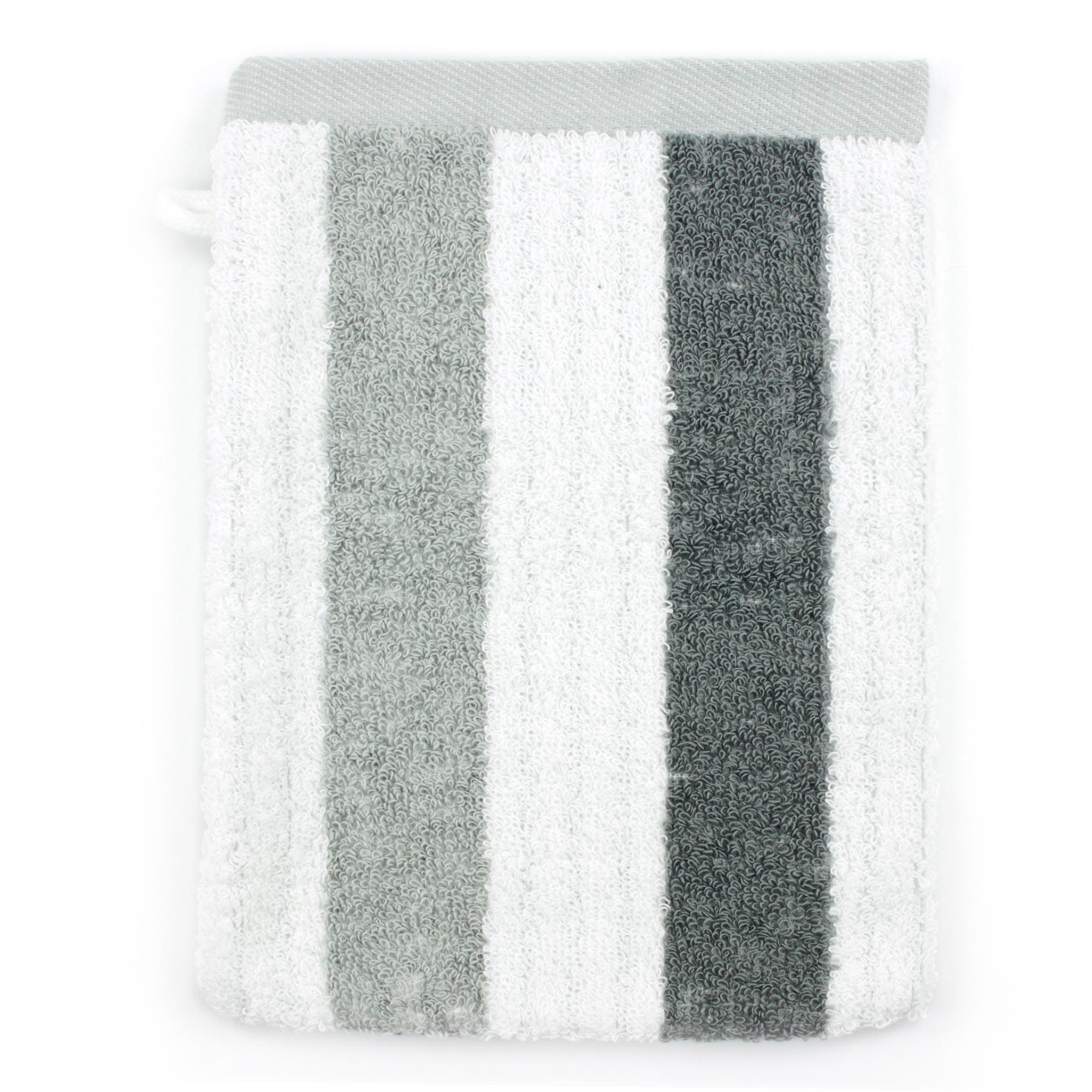 Linnea Gant de toilette 16x21 cm 100% coton 480 g/m2 CLASSIC STRIPES Gris