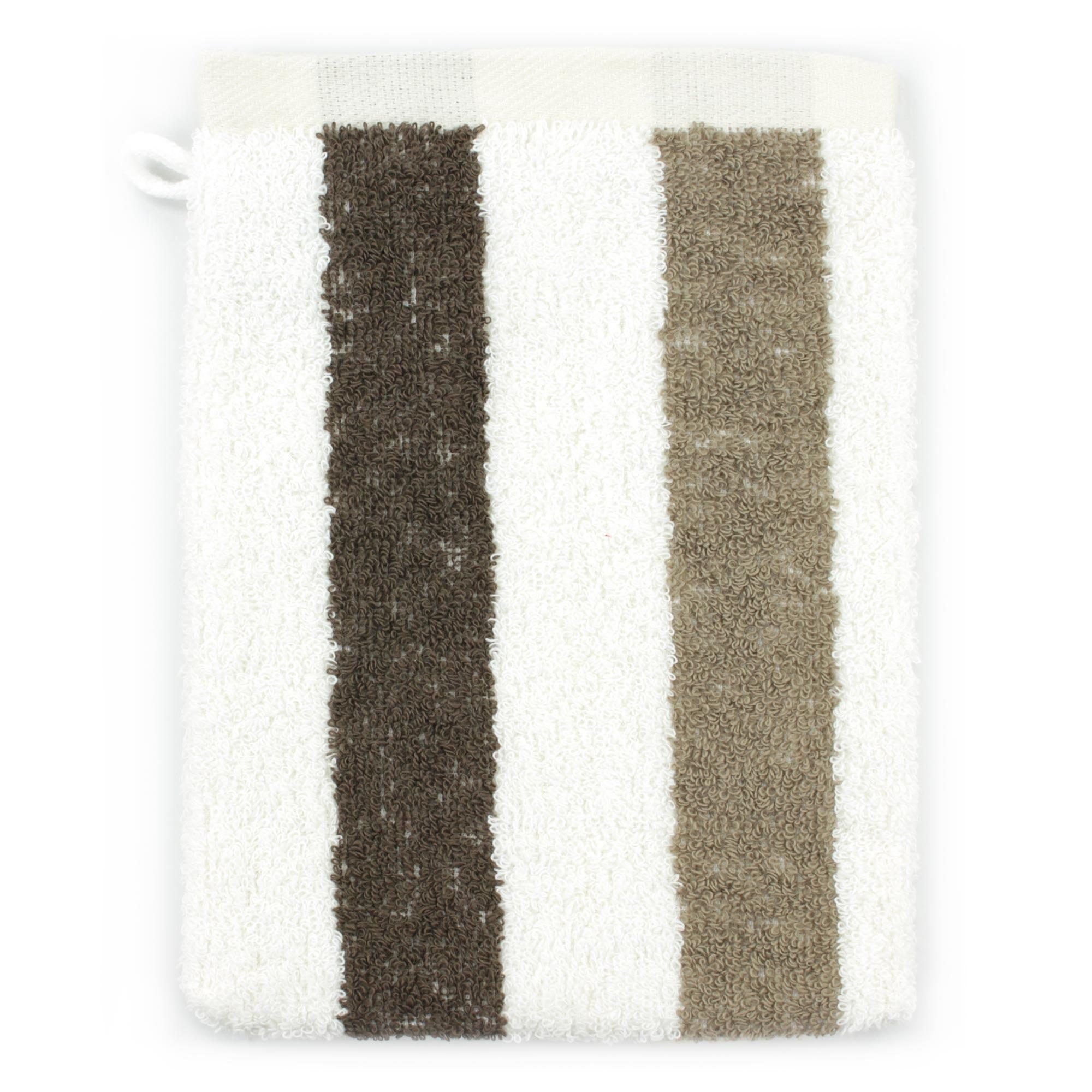 Linnea Gant de toilette 16x21 cm 100% coton 480 g/m2 CLASSIC STRIPES Marron