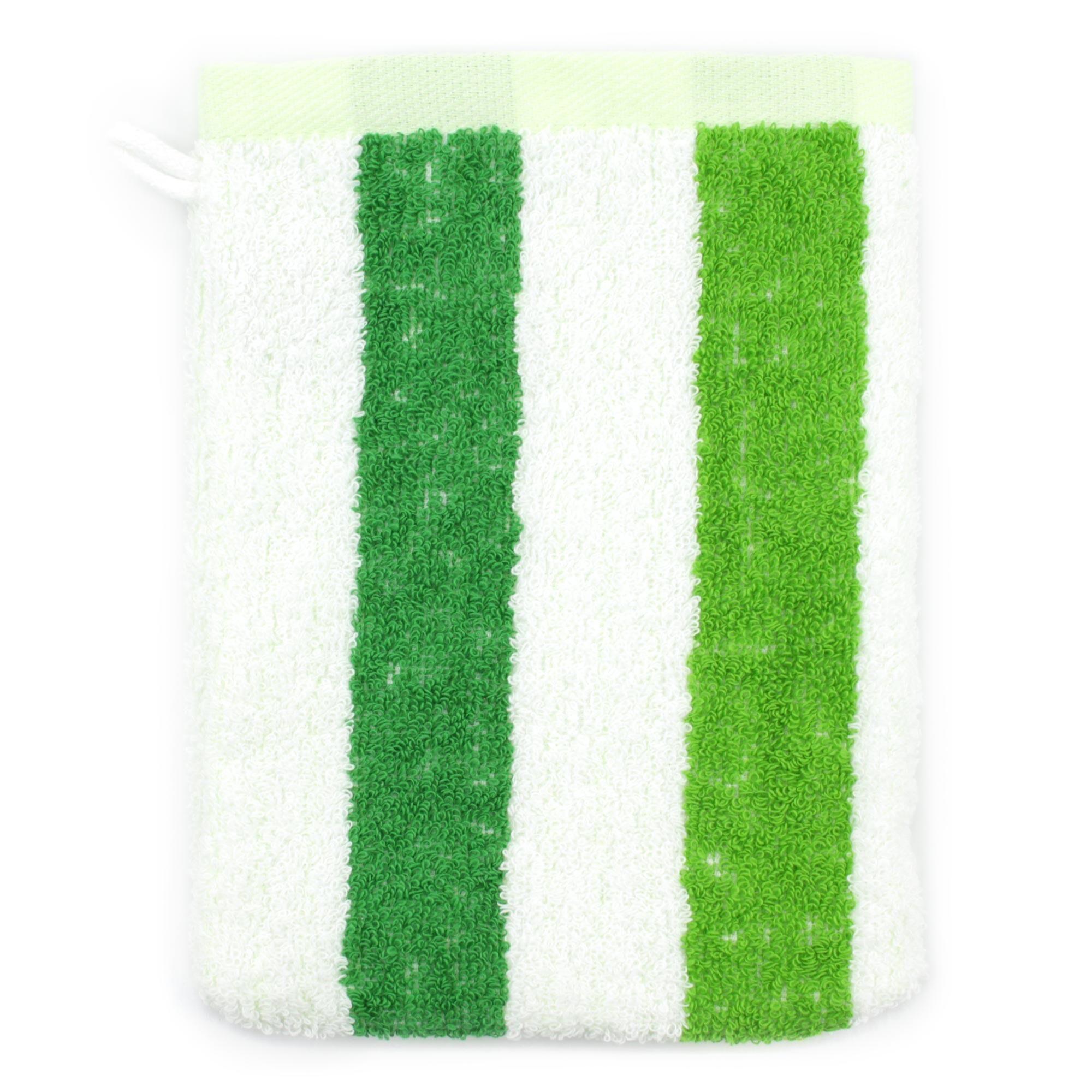 Linnea Gant de toilette 16x21 cm 100% coton 480 g/m2 CLASSIC STRIPES Vert