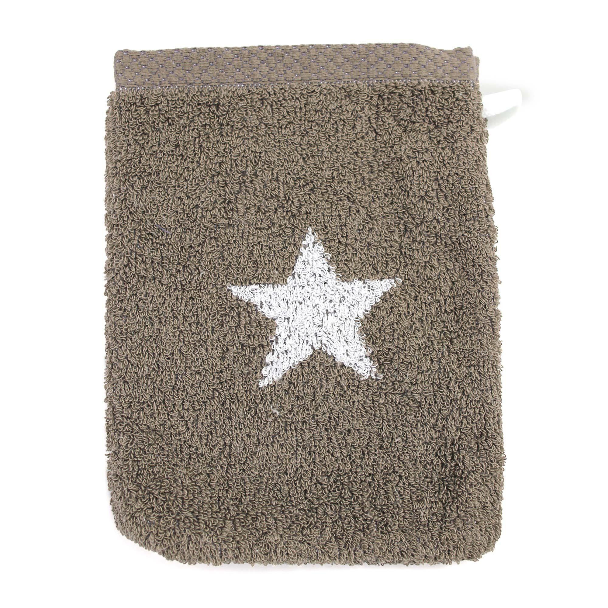 Linnea Gant de toilette 16x21 cm 100% coton 480 g/m2 STARS Marron