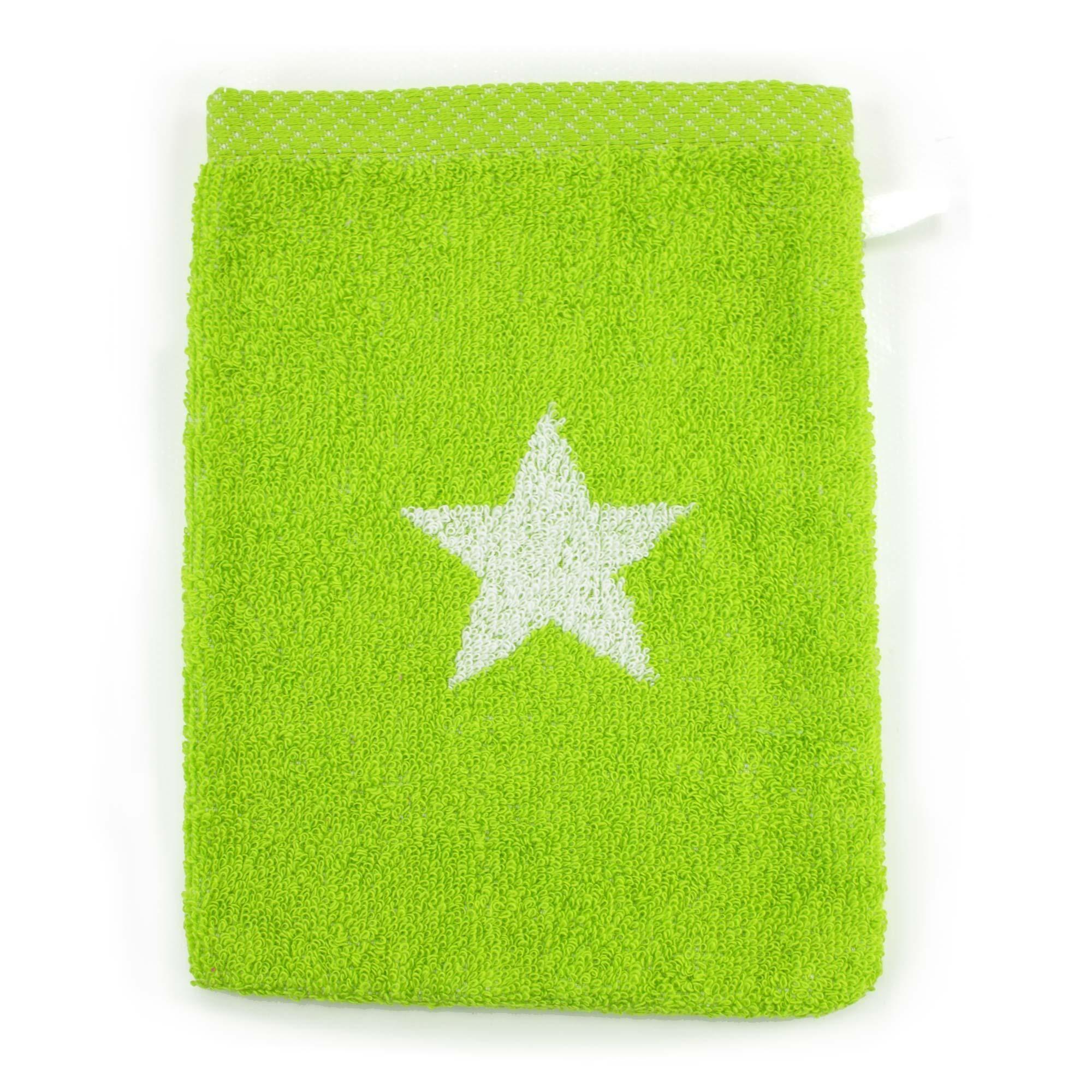 Linnea Gant de toilette 16x21 cm 100% coton 480 g/m2 STARS Vert