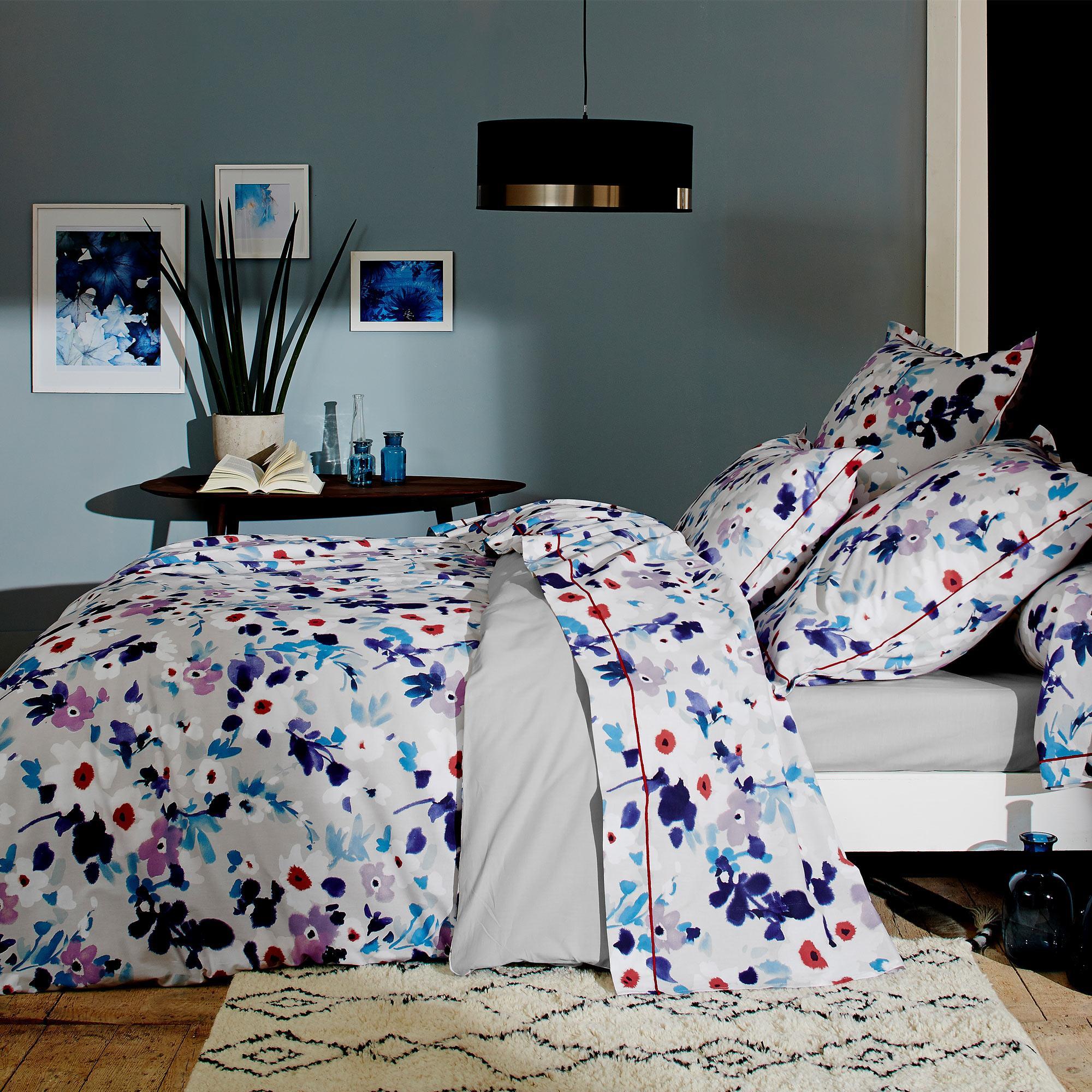 Linnea Housse de couette 140x200 cm 100% coton AQUARELLE bleu