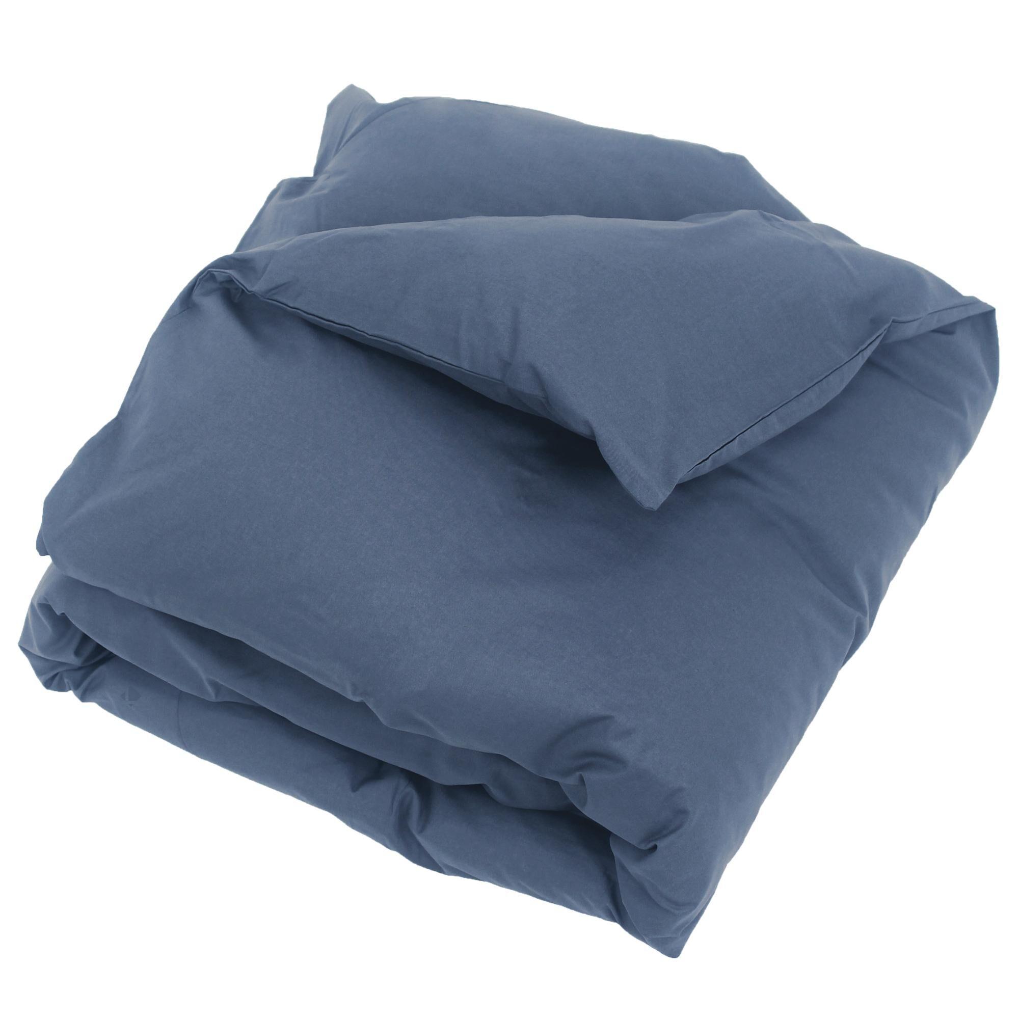 Linnea Housse de couette uni 140x200 cm 100% coton ALTO bleu Jean