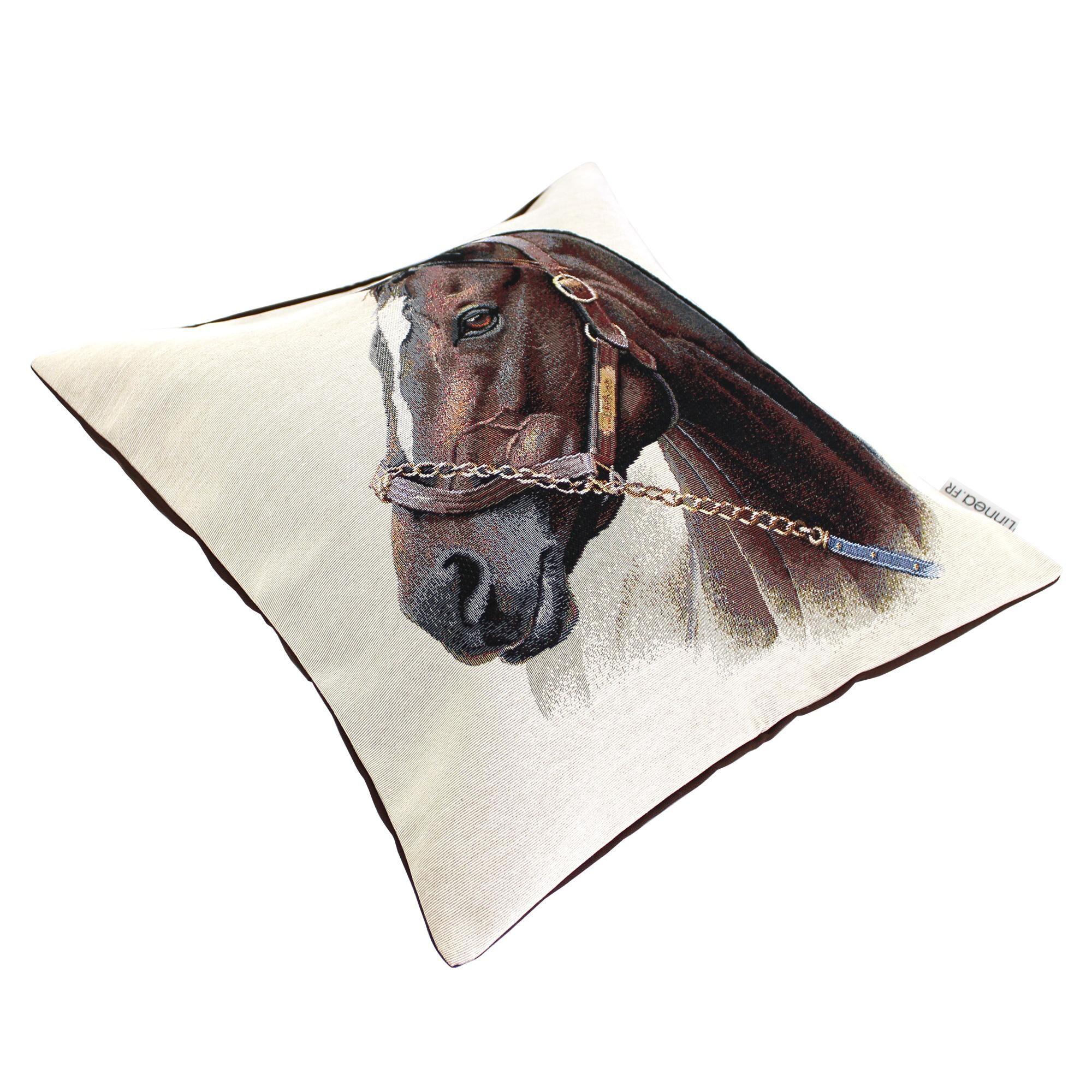 Linnea Housse de coussin 45x45 cm CASTEL Cheval de profil polycoton acrylique