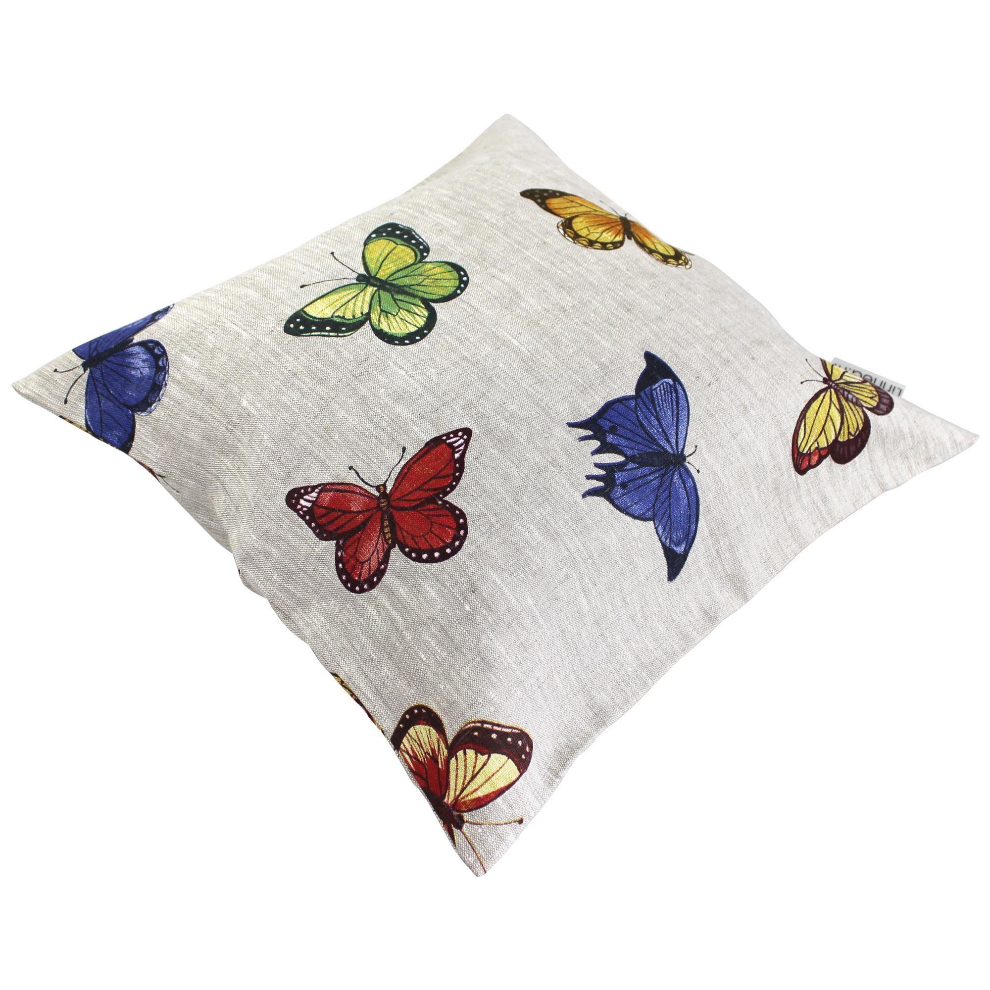 Linnea Housse de coussin 45x45 cm GALLICO Papillons bleus jaunes et rouges 100% Lin