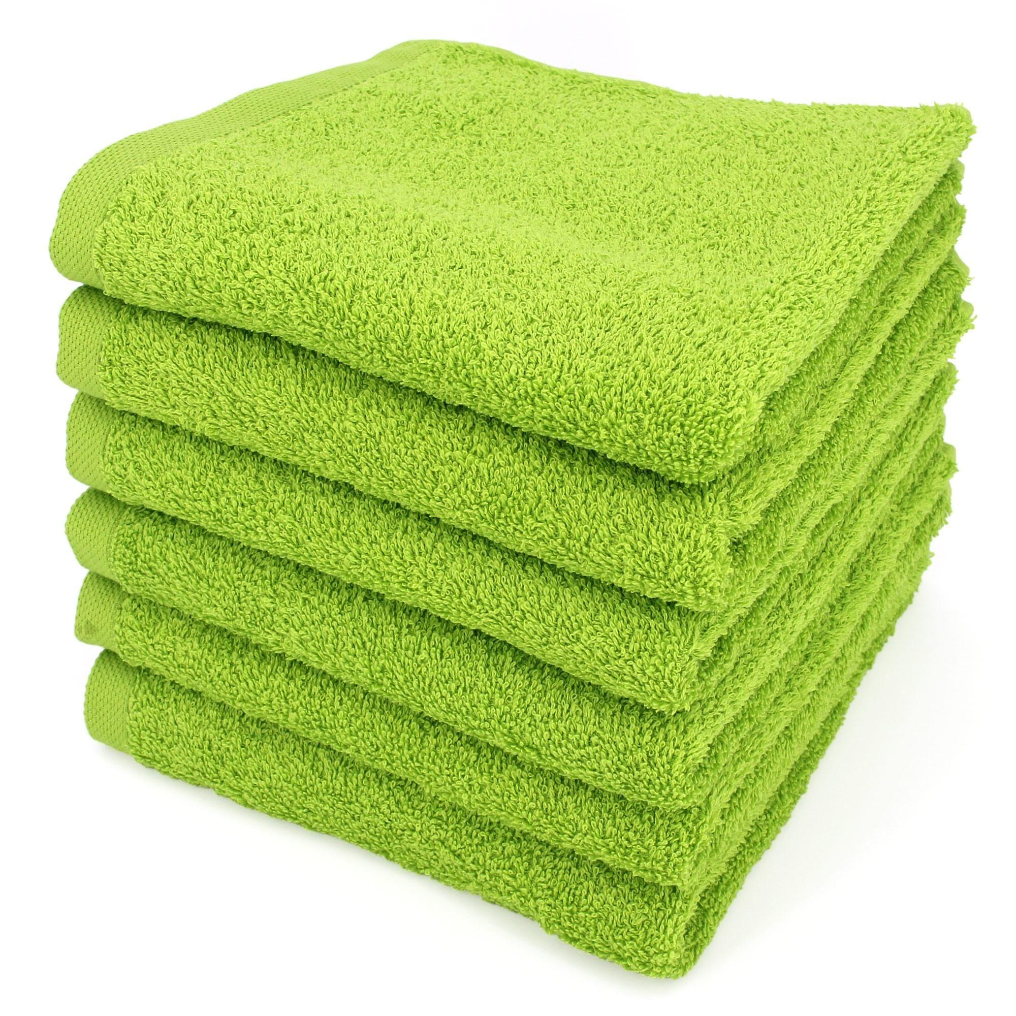 Linnea Lot de 6 serviettes de toilette 50x90 cm ALPHA vert Pistache
