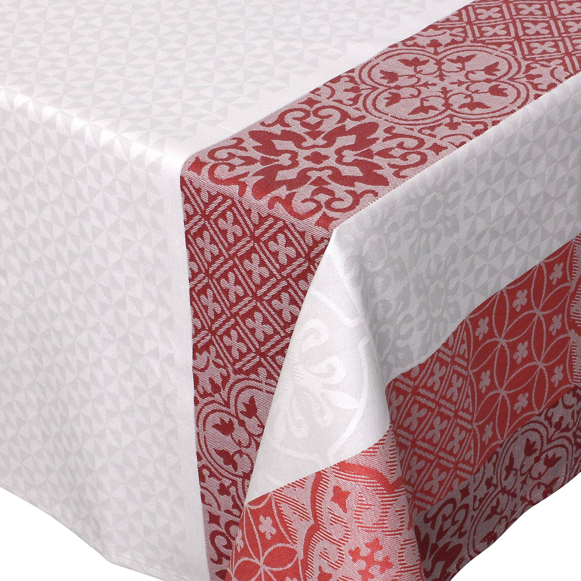 Linnea Nappe carrée 170x170 cm Jacquard 100% coton + enduction acrylique MOSAIC RUBIS Rouge