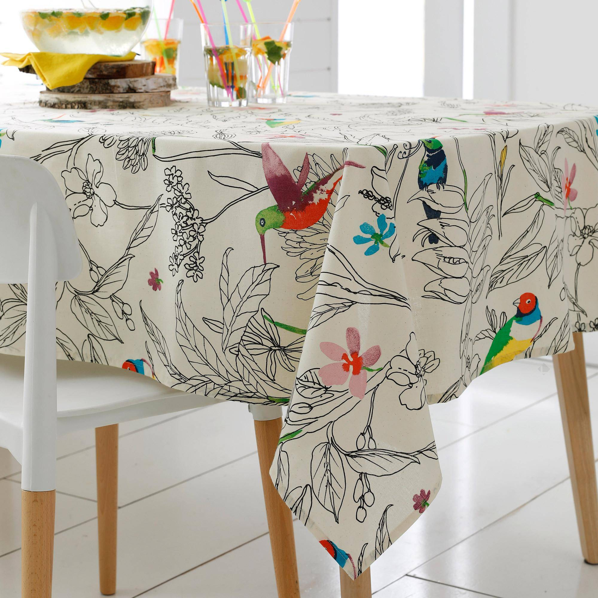 Linnea Nappe carrée 170x170 cm 100% coton enduction acrylique COLIBRI ecru