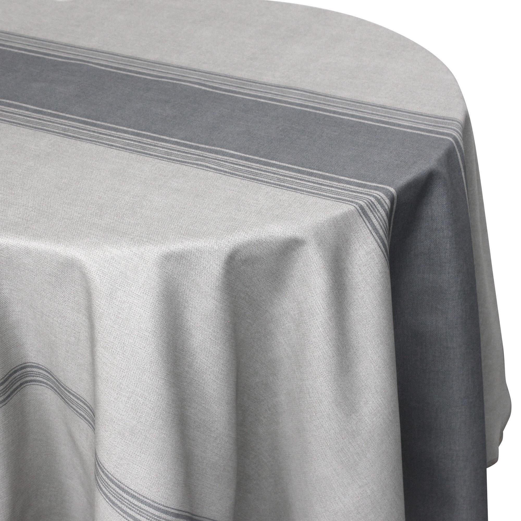 Linnea Nappe ronde 180 cm imprimée 100% polyester BISTROT gris Charbon