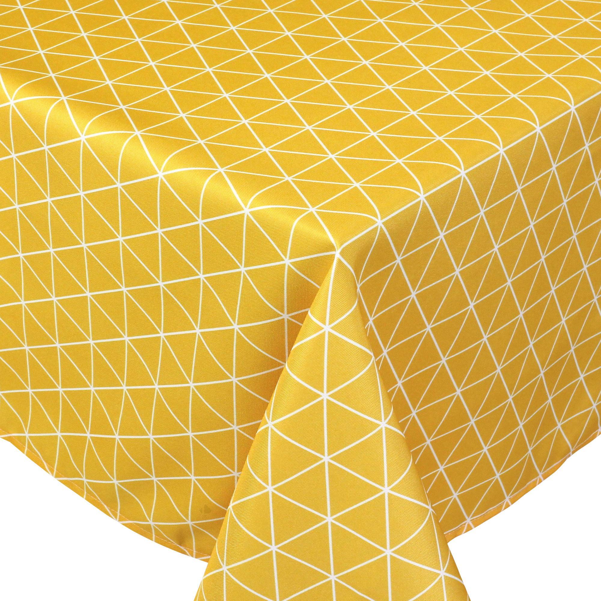 Linnea Nappe carrée 170x170 cm imprimée 100% polyester PACO géométrique jaune Maïs