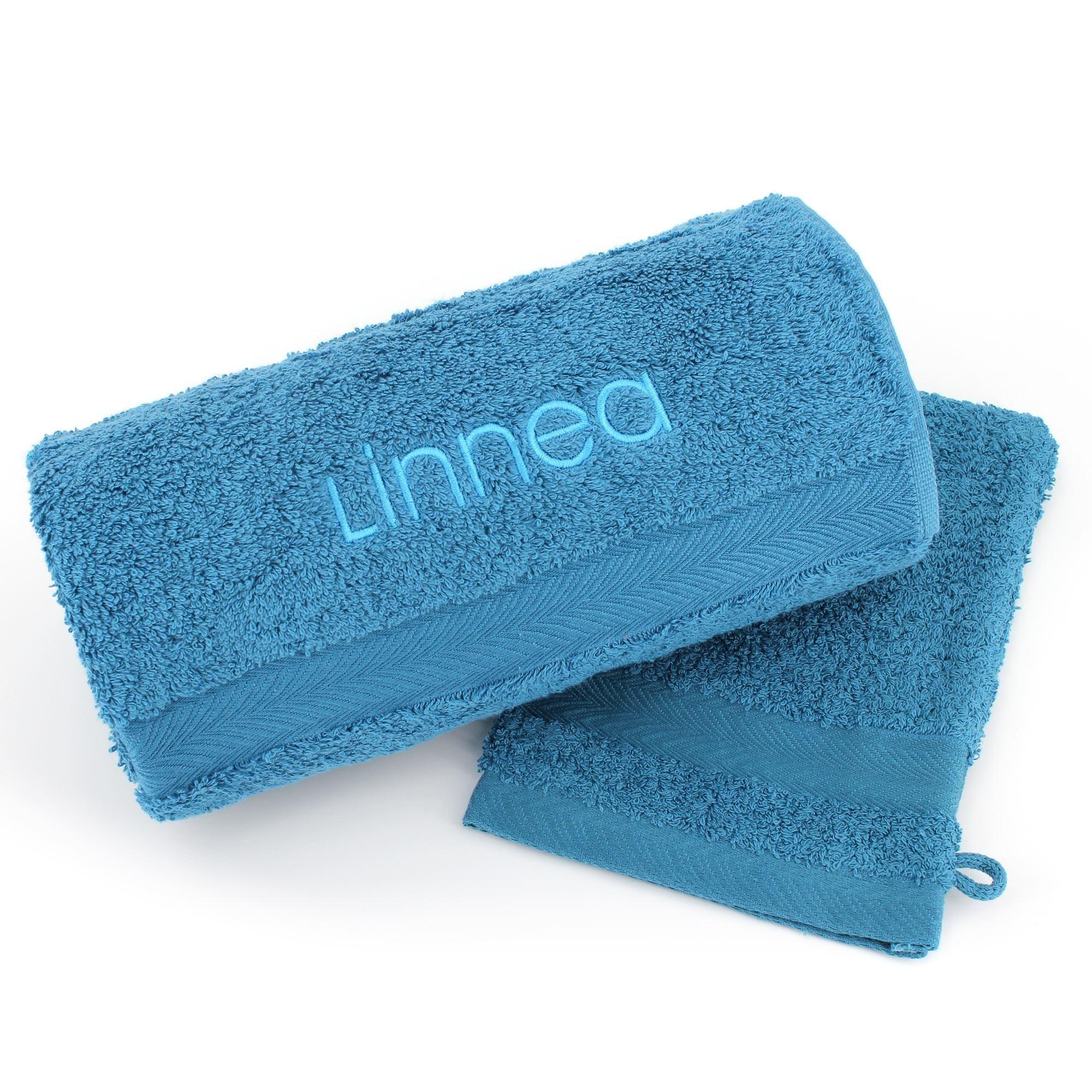 Linnea Lot ROYAL CRESENT Serviette brodée Linnea 50x100 + gant assorti Bleu Céleste