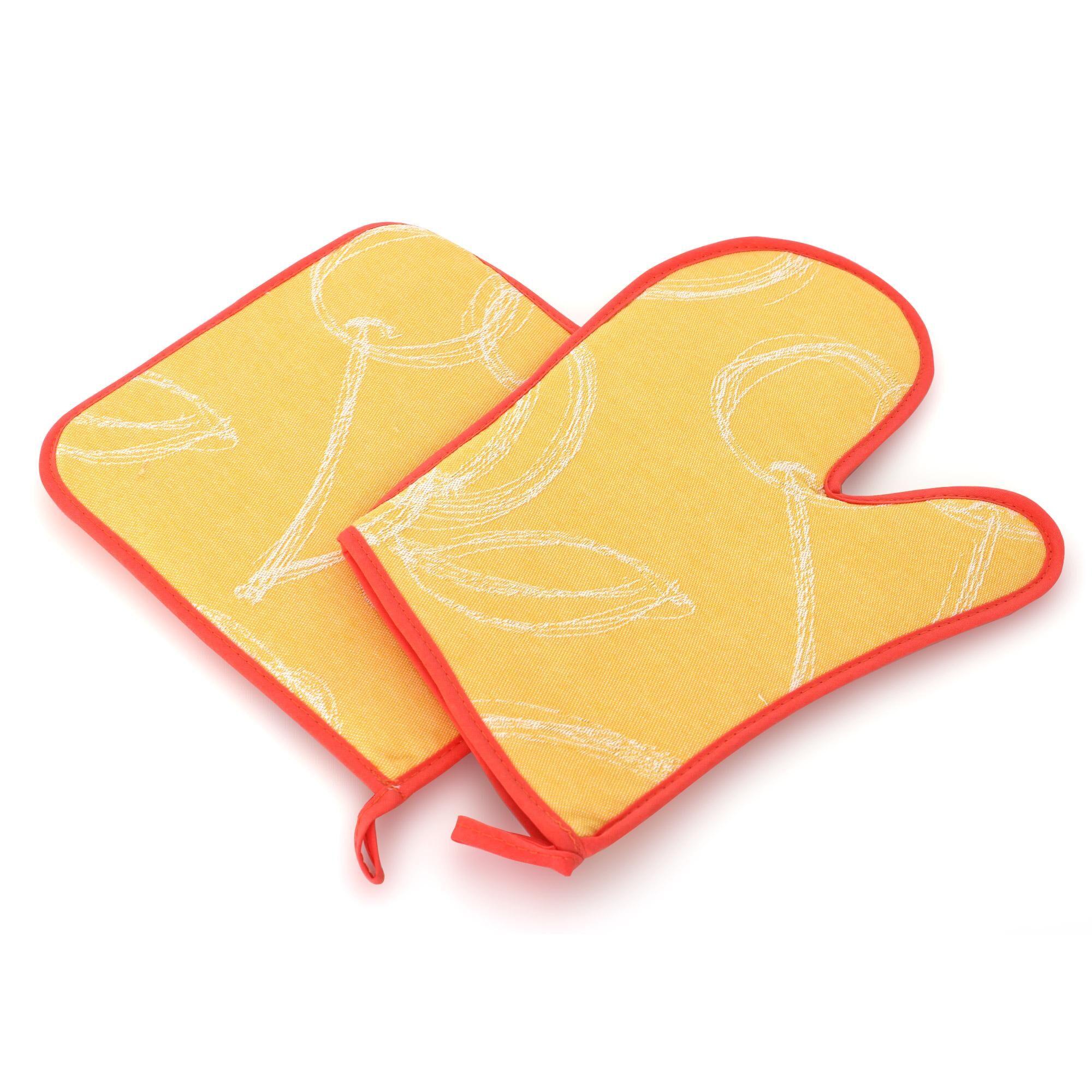 Linnea Set de cuisine 2 pièces : gant de cuisine et manique LINE Orange