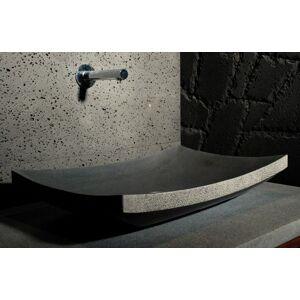 LivingRoc Vasque en pierre noire à poser 60x40 Basalte LOTUS - Publicité
