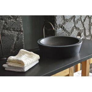 LivingRoc Vasque en pierre naturelle vrai granit noir 40x11 LEAF SHADOW - Publicité