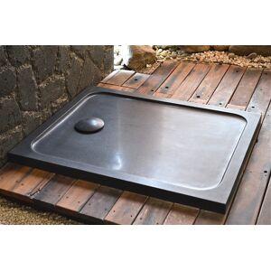 LivingRoc Receveur de douche pierre 100x80 taillé dans le granit noir MERCURION SHADOW - Publicité