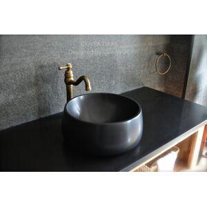 LivingRoc Vasque salle de bain en pierre noire Granit véritable OUVEA SHADOW - Publicité