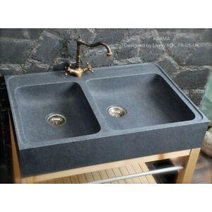 LivingRoc Évier en pierre granit véritable Spécial cuisine 90x60 KARMA - Publicité