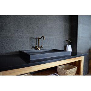 LivingRoc Vasque à poser salle de bain granit noir Luxe CALVI SHADOW - Publicité