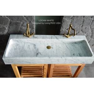 LivingRoc Double Vasque Salle de Bain pierre marbre de Carrare ESTEL WHITE - Publicité