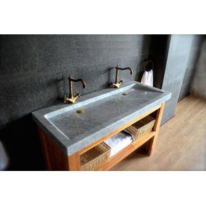 LivingRoc Double vasque en pierre marbre de Carrare 120cm YATE WHITE - Publicité