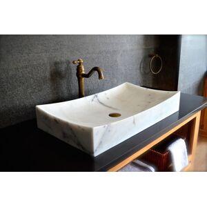LivingRoc Grande vasque en marbre blanc pierre véritable 70x40 TOJI WHITE - Publicité