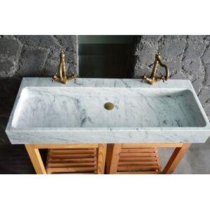 LivingRoc Double vasque en marbre de Carrare véritable salle de bain ESTEL WHITE - Publicité