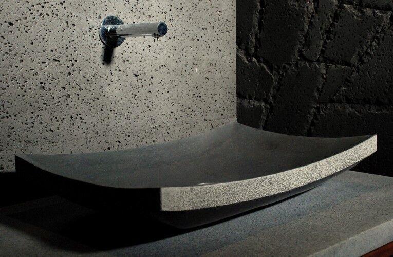 LivingRoc Vasque en pierre noire à poser 60x40 Basalte LOTUS