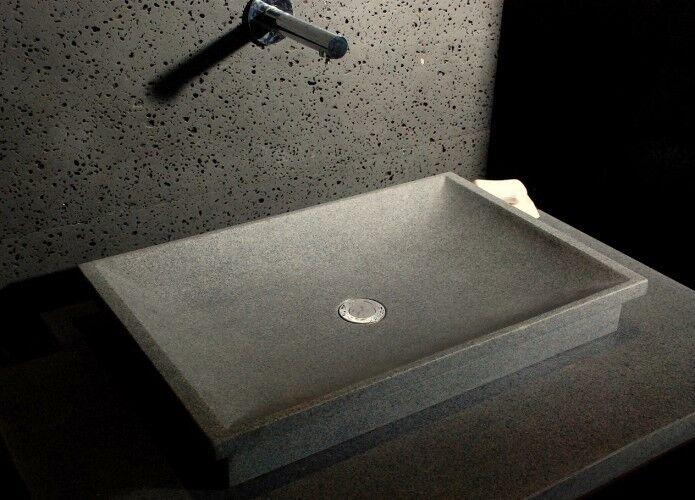 LivingRoc Vasque en pierre naturelle à poser 60x40 granit véritable DUNE
