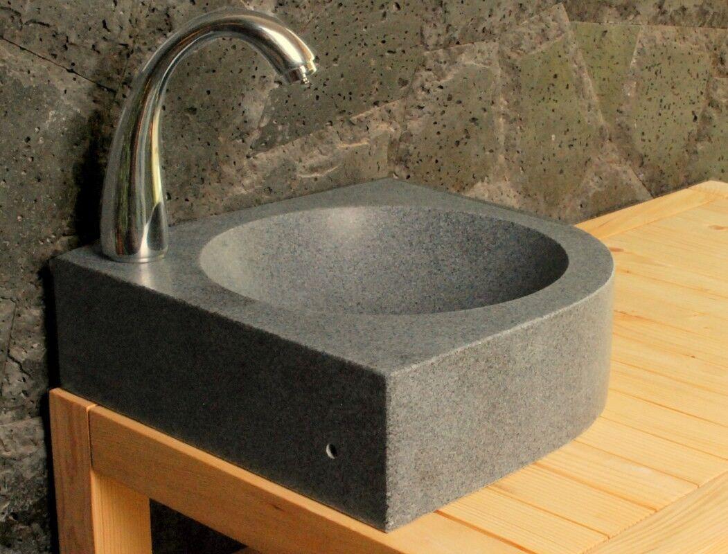 LivingRoc Lave mains en pierre d'angle 34x34cm granit véritable SAMOA