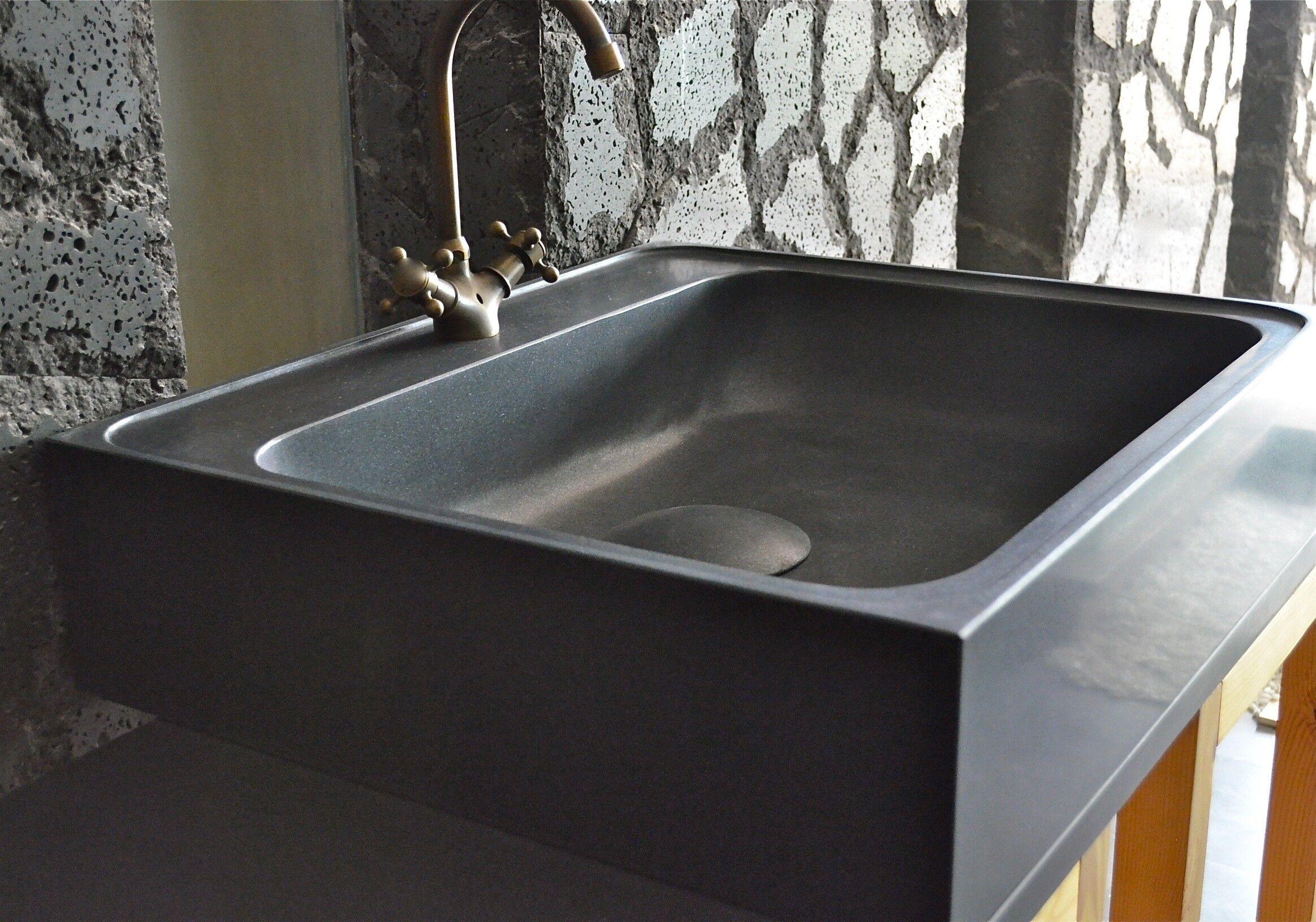 LivingRoc Évier en Pierre Granit Noir Spécial cuisine 70x60 LAGOS SHADOW