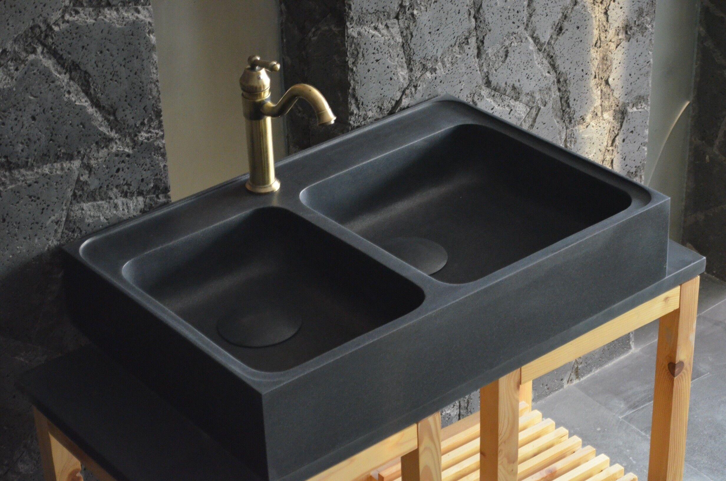 LivingRoc Évier en pierre granit noir spécial cuisine 90x60 KARMA SHADOW