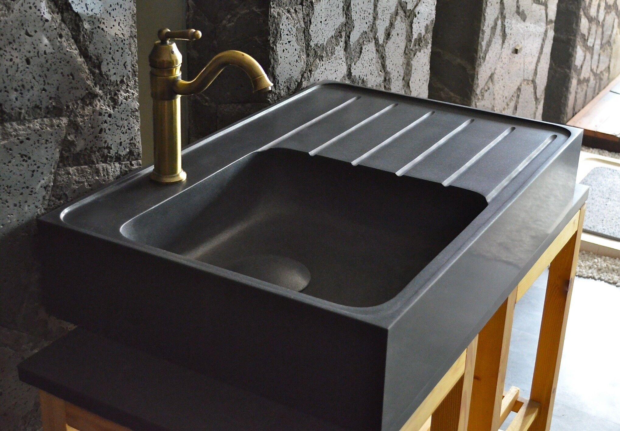 LivingRoc Évier de cuisine pierre 90x60 Granit Noir Luxe NORWAY SHADOW