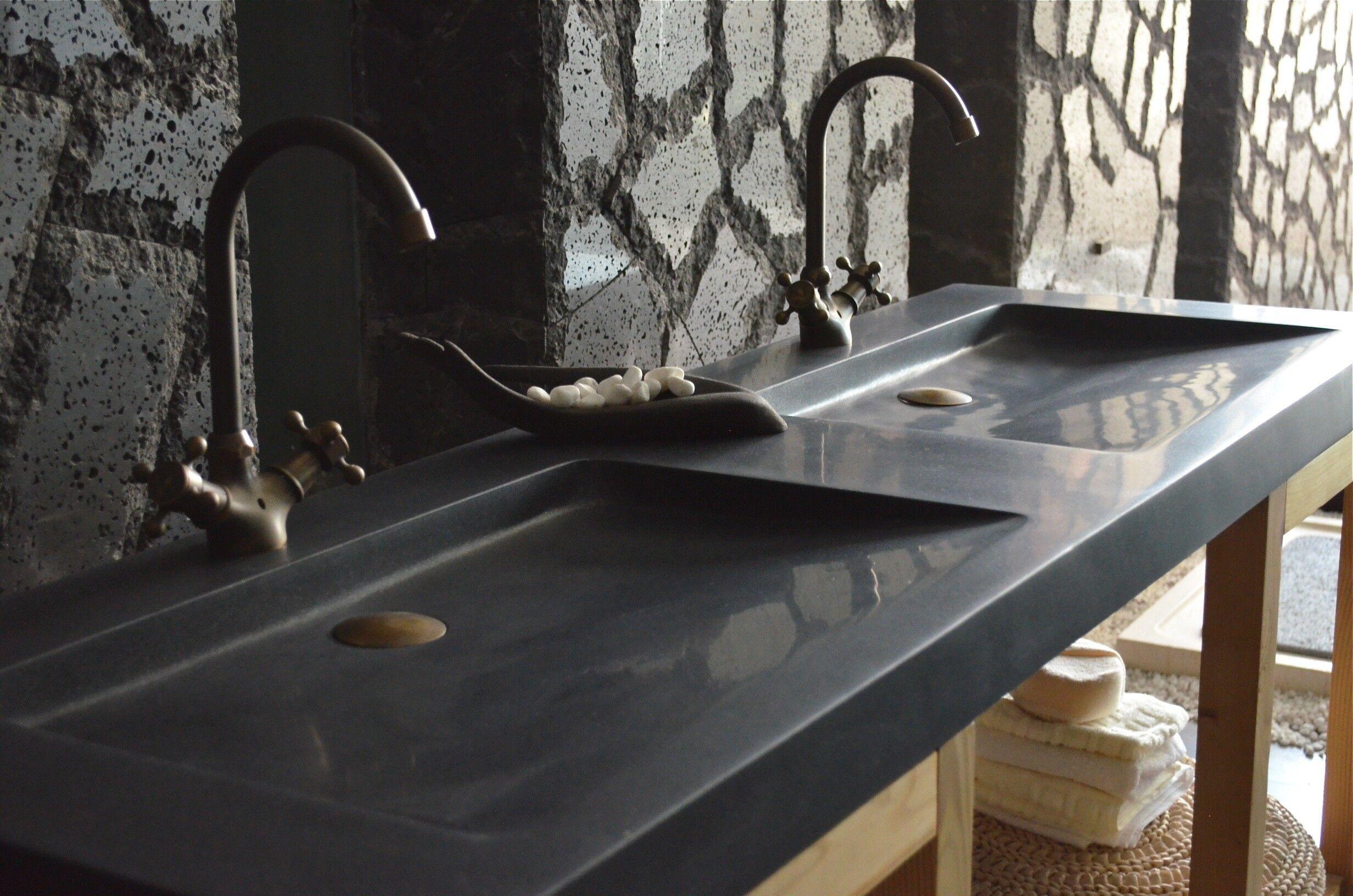 LivingRoc Double vasque en pierre 160x50 granit noir Luxe FOLEGE SHADOW