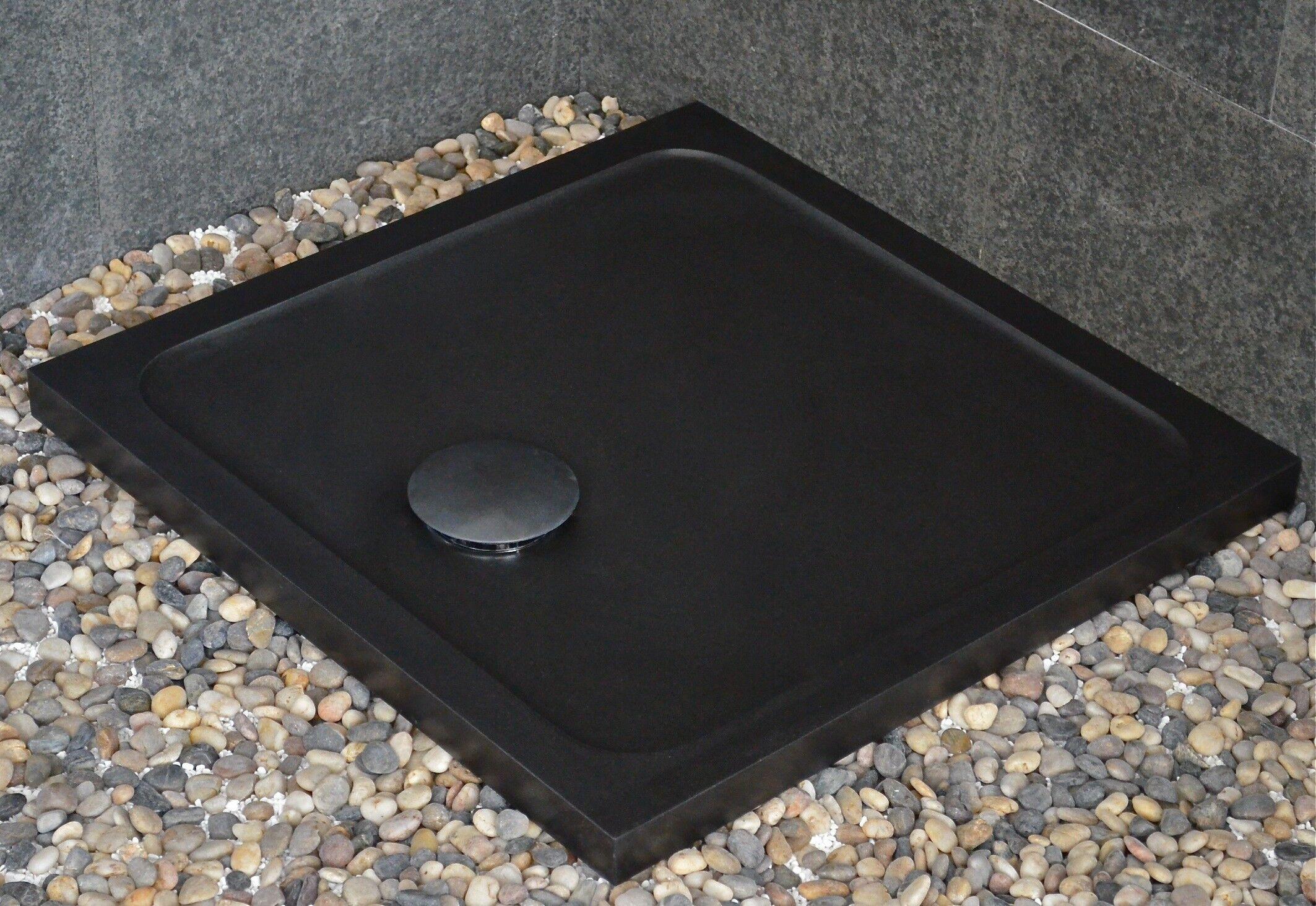 LivingRoc Bac à douche taillé dans le granit noir 80x80 CORAIL SHADOW