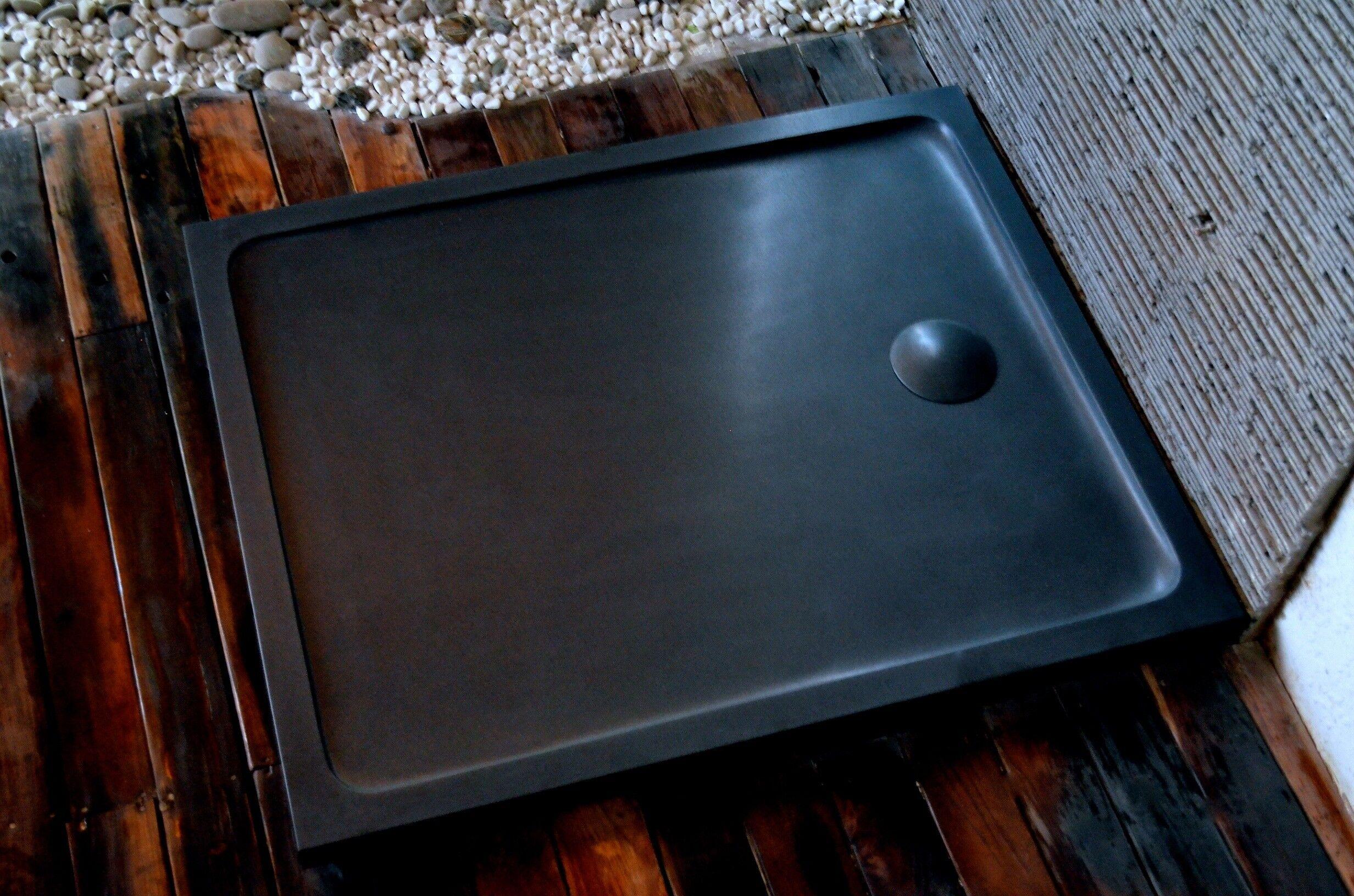 LivingRoc Receveur Bac à douche 120X100 granit noir haut de gamme KIAORA SHADOW