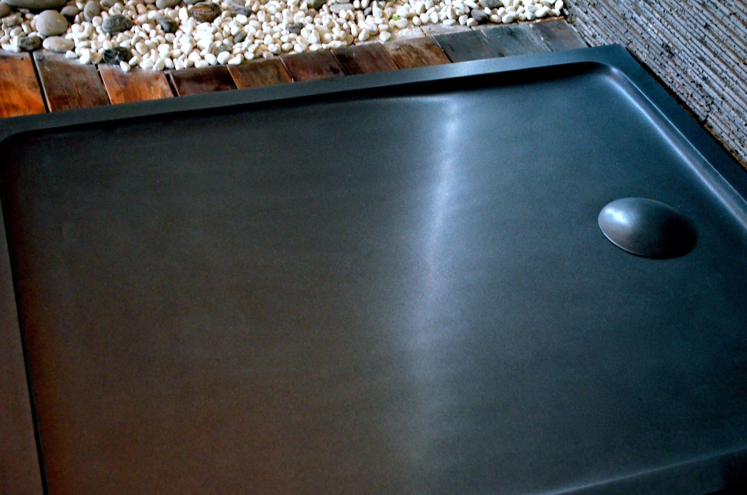 LivingRoc Receveur de douche 120X80 à l'italienne véritable Granit Noir PALAOS SHADOW