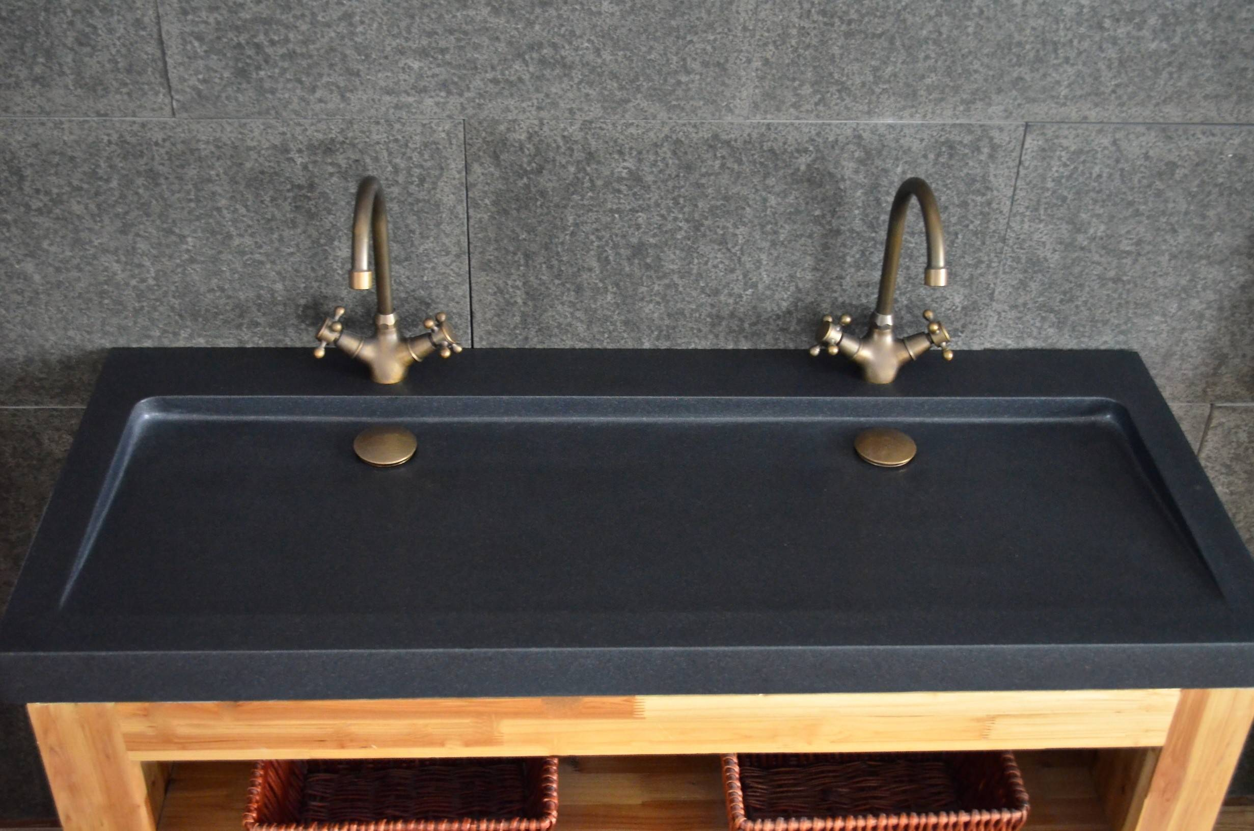 LivingRoc Double vasque salle de bain 120x50 en vrai Granit Noir YATE SHADOW