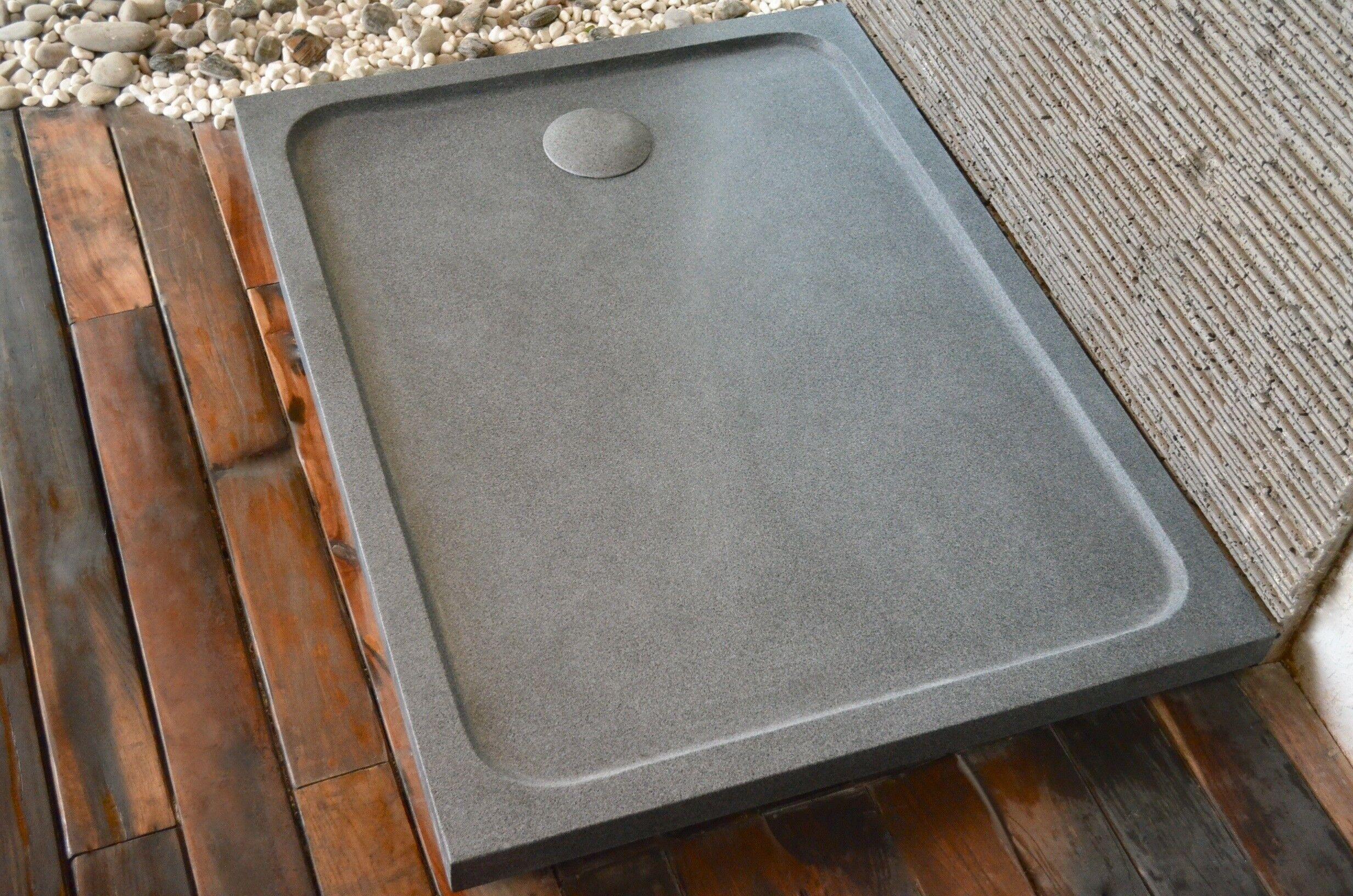 LivingRoc Receveur de douche en pierre à l'italienne 120X100 granit gris KIAORA