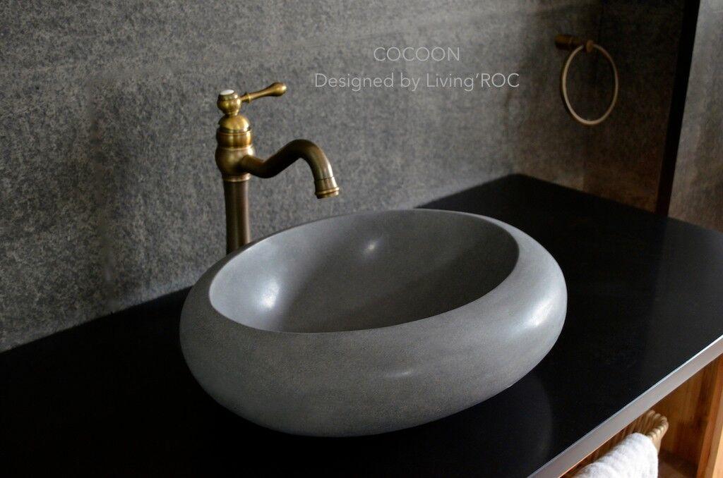LivingRoc Vasque salle de bain pierre à poser oblongue basalte COCOON